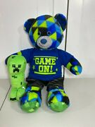 💜 Build A Bear Gamer Bear Checkered Plush W/ Game On Outfit And Minecraft Creeper