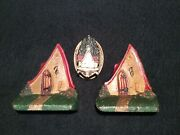 Vintage Cast Iron Cottage Bookends And Door Knocker
