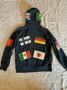 Supreme International Flags Hoodie - Size Large - Navy Blue Includes Sticker