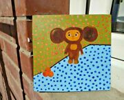 Cheburashka - Unique Oil Painting On Wood - Limited Edition My Cheb Toy チェブラーシカ