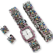 Suzanne Somers Silver Plated Crystal Watch Bracelet Post Earrings Set Multicolor