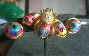 Rare Joan Rivers Blossoming Brights Bee Pin Brooch And Matching Pierced Earrings