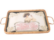 Vintage Drink Pepsi Cola 5 Cents Healthful Glass Mirror Tray Wicker Lady W/ Hat
