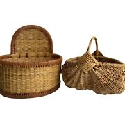 Vintage Lot Of 2 Mid Century Modern 70andrsquos Boho Tan Wicker Buttock Basket