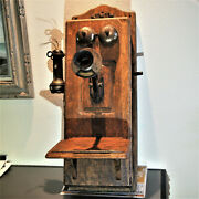 Antique Stromberg Carlson Wooden Wall Mount Telephone / Hand Crank Phone