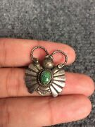 Vtg Native American Navajo Sterling Silver Stamp Turquoise Butterfly Pin Brooch