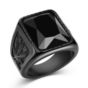 Fashion Mens Biker Leaf Rings Gothic Black Sapphire Party Jewelry Gift Size 8-14