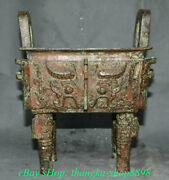 9 Antique Chinese Bronze Ware Dynasty Place Beast Face Incense Burners Ding