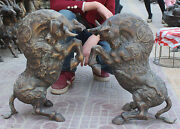 22 Chinese Copper Carving Dragon Unicorn Bullfight Bull Oxen Animal Statue Pair