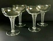 Crystal Hollow Stem Champagne Coupes Stuart England St.george Pattern Set Of 4