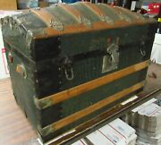 Antique Dome Top Steamer Trunk Wood Chest W/ Insert Shelves 16 X 27 X 19