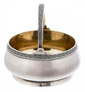 Vintage Ussr Silver 875 Vase Candy Bowl With A Handle Gilding Tallinn Jewelry