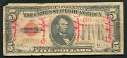 1928-a 5 Red Seal Legal Tender United States Note Andldquocontemporary Fauxandrdquo Rare