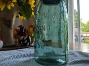 Old Rare Colored Green 1/2 Gallon Masons 1858 Fruit Jar Crude And Whittled Nice
