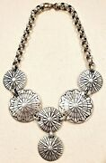 Hammered Aluminum Big Bold Chunky Disc And Link Necklace