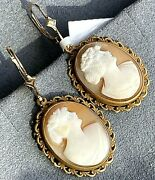 Antique Victorian Lady Profile Cameo 14k Yellow Gold Earrings Dangle Hand Carved