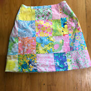 Lily Pulitzer Vintage Sewn Patchwork Fabric Wrap Skirt, Cotton, A Line, Small