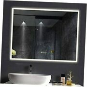 48x36 Inch Led Lighted Makeup Mirror For Bathroom Vanity Crystal I 48x36