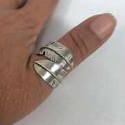 Vtg Native American Allen Chee Sterling Silver 925 Feather Adjustable Ring S. 12
