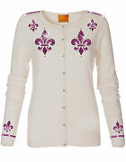Luxe Oh` Dor 100 Cashmere Knit Cardigan White Pink Size 34 Xs/s Luxury