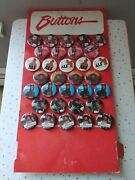 Vintage 1980's Alf Pin Back Buttons W/cardbord Display 37 Pieces