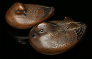 Japanese Antique A Pair Of Mandarin Duck Bronze Incense Container