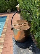 Antique Large 19th Century French Copper Pot And Lid With Wrought Iron Handle