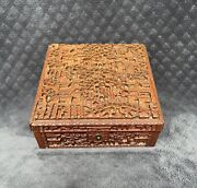 Rare 19th Century Chinese Canton Qing Carved Wood High Relief Figural Panels Box