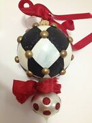 Nib Mackenzie Childs Christmas Ornament Peppermint Double Drop Collectible