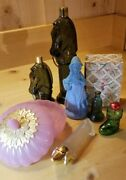 Vintage Avon Collectibles Lot Glass Statue Perfume Atomizer Set Horse Dog Bell