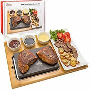 Cooking Stone- Complete Set Lava Hot Steak Stone Plate Tabletop Grill And Cold