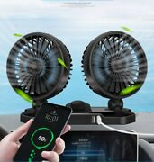12v Double Usb Dual Head Car Fan Portable Vehicle 360 Truck Auto Cooling Cooler