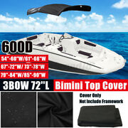 3 Bow Bimini Top Boat Replacement Canvas Cover Without Frame 600d Anti-uv Black