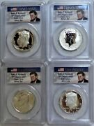 2014-p, W, D And S Silver Kennedy 1st Strike Half Dollar Set Pcgs Pr70 And Ms70