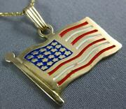 Estate Large 14kt Yellow Gold 3d Handcrafted Enamel American Flag Pendant 25299