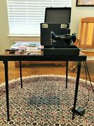 Antique Singer Featherweight Port Sewing Machine W/ Table And Accessories 221-1