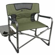 Folding Chair Padded Seat W/ Side Table 600 Lb Capacity Outdoor Camping Fishing