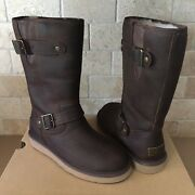 Ugg Sutter Toast Brown Water-resistant Leather Buckle Short Boots Size 7 Womens