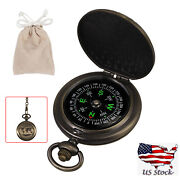 Portable Compass Brass Watch Pocket Outdoor Camping Hiking Navigation With Chain