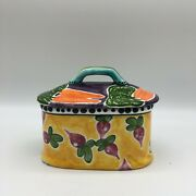 S. Purfog Hand Painted Covered Dish Vegetable Design Circa 2000