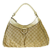 Authentic Gg Pattern Shoulder Bag Canvas Leather Beige Italy 61mh771