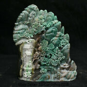 8natural Dushan Green Jade Hand Carved Tree House Old Man Bridge Scenery Statue
