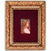 19c Hand Paint Kpm Portrait Plaque Signed By Wagner Beautiful Girl Reflexion