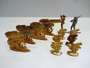 Lot 12 Vtg Thin Flat Lead Wwi Soldier Toys Army Artillery Howitzer Gun Infantry