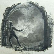 Early Antique English Ink Drawing By W.m.craig 1790s - Hells Door Sb3