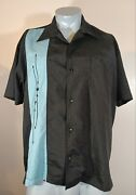 Steady Classics Retro Black Embroidered Blue Button Bowling Camp Shirt Men Large