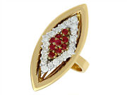 1970s Vintage Ruby And Diamond Ring In 18carat Yellow Gold