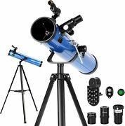 Reflector Telescopes For Adults Astronomy Beginners 76mm 700mm With Phone Adapte