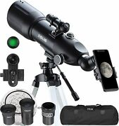 Telescopes For Adults Kids Astronomy Beginners 80mm Astronomical Telescopes With