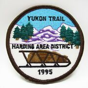Vintage Patch - Boy Scouts - Yukon Trail - Embroidered Dog Sled In Mountains